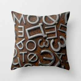 Assorted metal cyrillic letters on a rusty background Throw Pillow