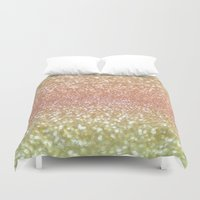 champagne Duvet Covers featuring Champagne Shimmer by Lisa Argyropoulos