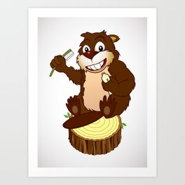 Beaver cartoon character with a toothbrush Art Print