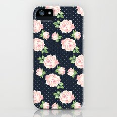 Blue and Pink Vintage Rose Pattern iPhone (5, 5s) Slim Case