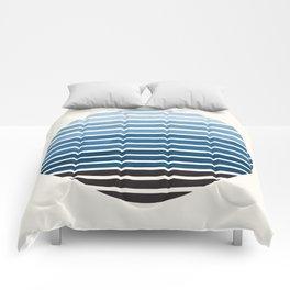 Green Blue Mid Century Modern Minimalist Scandinavian Colorful Stripes Geometric Pattern Round Circl Comforters