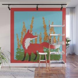 Red Fox + Foxgloves Wall Mural