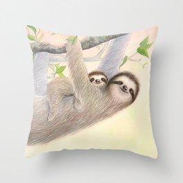Cradle Me: Mama & Baby Sloth Throw Pillow