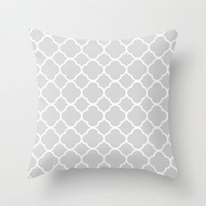 Gray & White Quatrefoil Throw Pillow
