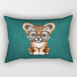 Cute Baby Tiger Cub Wearing Eye Glasses on Teal Blue Rectangular Pillow