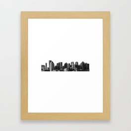 Boston Massachusetts Skyline Black and White Framed Art Print