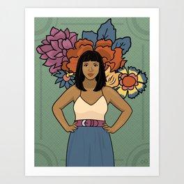 Dala & Flowers Art Print