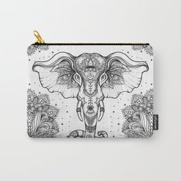 Beautiful hand-drawn tribal style elephant Carry-All Pouch