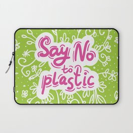 Say no to plastic.  Pollution problem, ecology banner poster. Laptop Sleeve