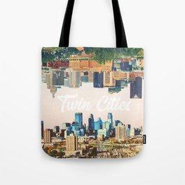 Skylines of Twin Cities Minneapolis and Saint Paul Minnesota Tote Bag
