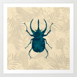 Original Camouflage Pattern Scarab Beetle Art Print