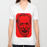 literature V-neck T-shirts featuring Outlaws of Literature (Charles Bukowski) by Silvio Ledbetter