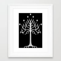 gondor Framed Art Prints featuring White Tree of Gondor by A. Design