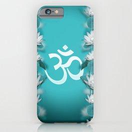 Om Symbol Gentle Lotus Stream on teal iPhone Case
