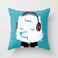 acdc Throw Pillows featuring Metal Rock Dog by Picomodi
