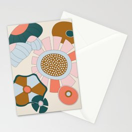 Abstract Graphic Flower Print 2 Stationery Cards