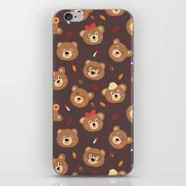 Brown Bear Heads Repeating Pattern iPhone Skin