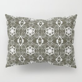 Pewter Gray and White Floral Geometric Pattern Pillow Sham