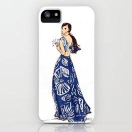 Vintage Hawaiian Print Girl Fashion Illustration  iPhone Case