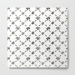 Floral Geometric Pattern Black and White Metal Print