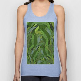 Green Bamboo Leaves Unisex Tank Top