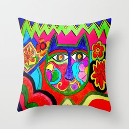Abstract Catface with flowers Throw Pillow