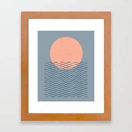 Ocean Wave Sun Blue - Mid Century Modern Framed Art Print