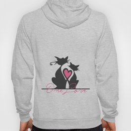 One Love Black Cats Soulmates make Heart with Tails Art Print Home Decor for Room Wall Interior Hoody