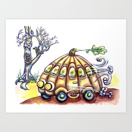 Punky Pumpkin Car for fast safe Halloween Carpool Trick or Treating Art Print