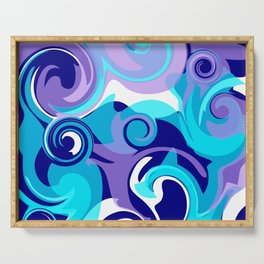 Finger Paint Swirls in Turquoise, Lavender, Purple, Navy Serving Tray