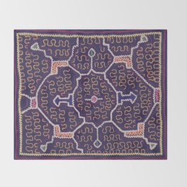 Song to Bring Wealth & Prosperity - Traditional Shipibo Art - Indigenous Ayahuasca Patterns Throw Blanket