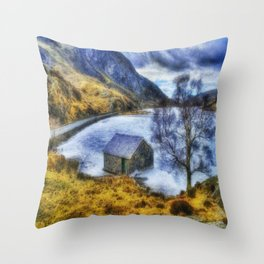 Frozen Lake Ogwen Throw Pillow