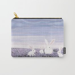 white rabbits and purple flowers Carry-All Pouch