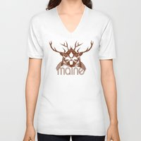 maine V-neck T-shirts featuring Backwoods Maine by One Giant Eye