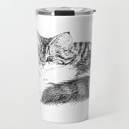 Maine Coon Cat - Pen and Ink Travel Mug