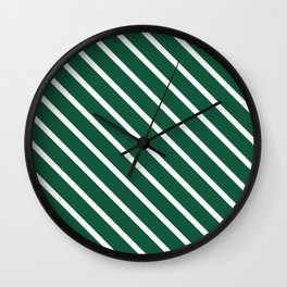 Teal The World (Green) Diagonal Stripes Wall Clock