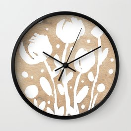 Whimsical watercolor flowers – neutral Wall Clock