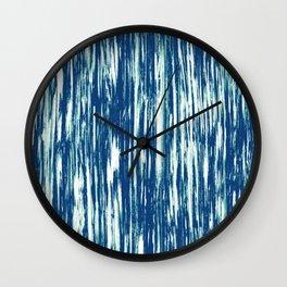 Ikat Streaks in Indigo Wall Clock