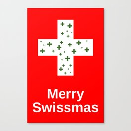 Merry Swissmas Christmas Holiday Cheer for Lovers of the Swiss and Switzerland Canvas Print