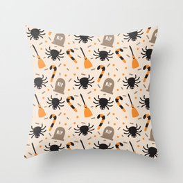 Happy halloween brooms, graves, spiders and sweets pattern Throw Pillow