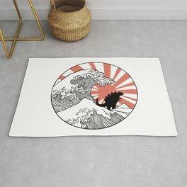 Godzilla Rising Sun The Great Wave  Rug