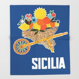 Sicilia - Sicily Italy Vintage Travel Throw Blanket