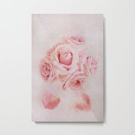 Fine Art Pink Pastel Roses Photography, Flower Metal Print