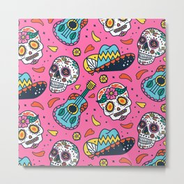Day Of The Dead Guitar Skull Pink Pattern Metal Print