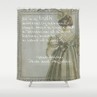 pride and prejudice Shower Curtains featuring Pride and Prejudice by Bonnie J. Breedlove
