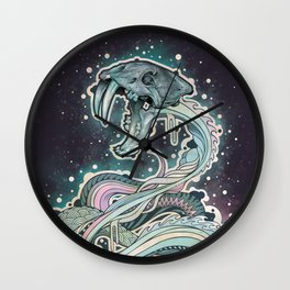 Saber-toothed Serpent in Space. Wall Clock