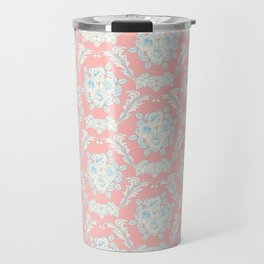 Shabby elegant coral ivory pastel blue floral damask Travel Mug
