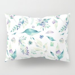 Modern jade green lavender watercolor floral Pillow Sham
