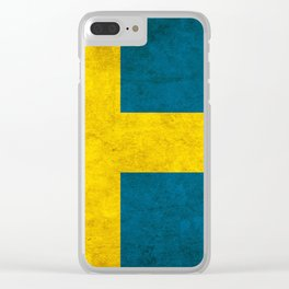 Sweden flag, circle Clear iPhone Case