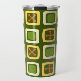 Mid Century Modern Squares Lines Avocado Green Travel Mug